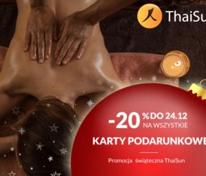 Wielka promocja świąteczna ThaiSun -20% nawszystkie karty podarunkowe orazmasaże!